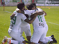TUNJA- COLOMBIA, 10-10-2019:Pablo Ceppelini  jugador del Atlético Nacional celebra después de anotar un gol a Patriotas Boyacá durante partido por la fecha 16 de la Liga Águila II  2019 jugado en el estadio La Independencia de la ciudad de Tunja. /Pablo Ceppelini player of atletico Nacional celebrates after scoring a goal agaisnt of Patriotas Boyaca  during the match for the date 16 of the Liga Aguila II 2019 played at the La Independencia stadium in Tunja city. Photo: VizzorImage / José Miguel Palencia / Contribuidor