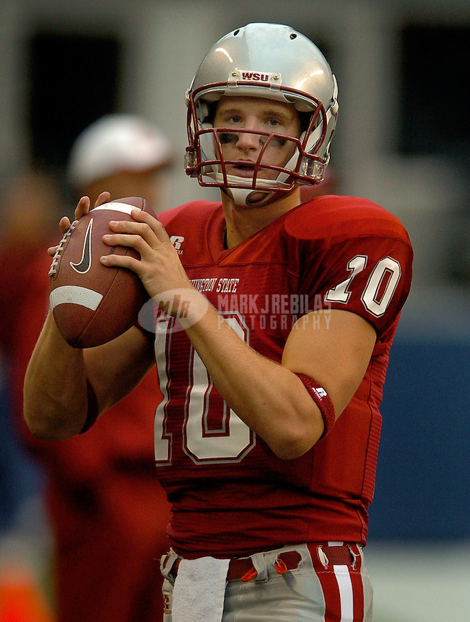 Sep 17, 2005; Seattle, WA, USA; Washington State Cougars quarterback Alex Brink #10 warms up prior to the start of the second half against the Grambling State Tigers at Qwest Field. Mandatory Credit: Photo By Mark J. Rebilas