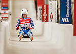 5 December 2015: Tatyana Ivanova, competing for Russia, crosses the finish line on her second run of the Viessmann World Cup Women's Luge, with a combined 2-run time of 1:28.419 and a 5th place result at the Olympic Sports Track in Lake Placid, New York, USA. Mandatory Credit: Ed Wolfstein Photo *** RAW (NEF) Image File Available ***
