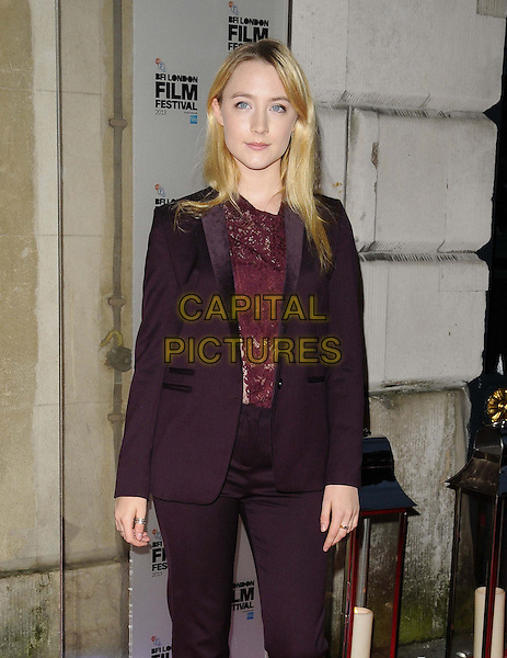 Saoirse Ronan<br /> attended the BFI London Film Festival Awards 2013, 57th BFI London Film Festival day 11, Banqueting House, Whitehall, London, England, UK, 19th October 2013.<br /> half length red maroon burgundy lace top suit trousers <br /> CAP/CAN<br /> &copy;Can Nguyen/Capital Pictures