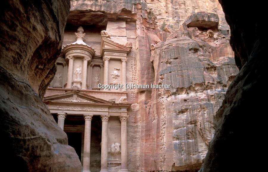 Jordan, Petra. Al Khazneh (the Treasury) as seen from the Siq&#xA;<br />