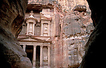 Jordan, Petra. Al Khazneh (the Treasury) as seen from the Siq&amp;#xA;<br />