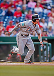 26 September 2018: Miami Marlins first baseman Derek Dietrich in action against the Washington Nationals at Nationals Park in Washington, DC. The Nationals defeated the visiting Marlins 9-3, closing out Washington's 2018 home season. Mandatory Credit: Ed Wolfstein Photo *** RAW (NEF) Image File Available ***