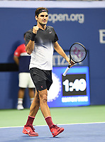 FLUSHING NY- SEPTEMBER 04: ***NO NY DAILIES***  Roger Federer Vs Philipp Kohlschreiber: Roger Federer pumps his fist after set point during his match against Philipp Kohlschreiber on Arthur Ashe Stadium during the US Open at the USTA Billie Jean King National Tennis Center on September 4, 2017 in Flushing Queens. Credit: mpi04/MediaPunch