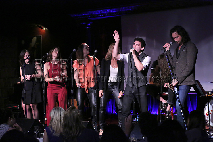 Georgia Stitt, Kelli Barrett, Julia Murney, Amanda Green, Jarrod Spector and Constantine Maroulis performing at The Lilly Awards Broadway Cabaret at the Cutting Room on October 17, 2016 in New York City.
