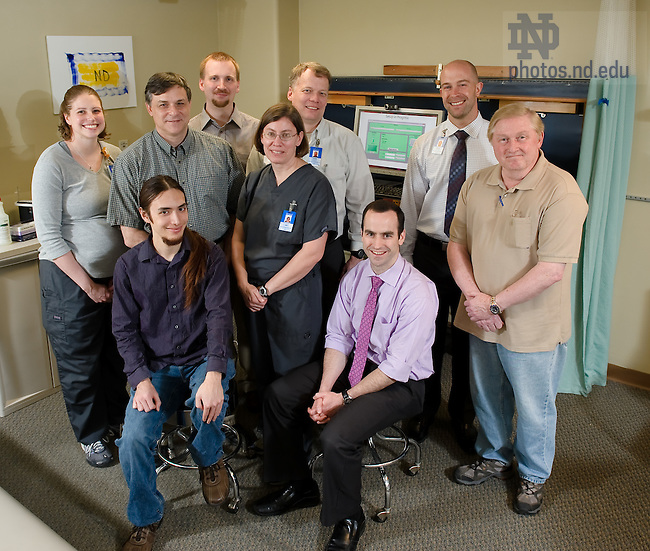 Mar. 20, 2012; James Schmiedeler (seated on right) with partners in the WEHAB project, photographed in the rehab center at Memorial Hospital. The WEHAB project was the 2012 Ganey Research Award winner...Photo by Matt Cashore/University of Notre Dame