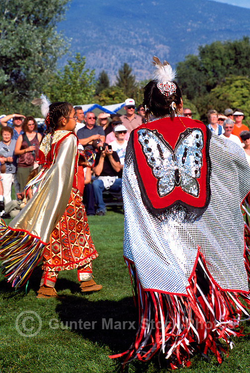 Native American Indian Fancy Dancers in Traditional Regalia at a Pow Wow in Oliver, British Columbia, Canada