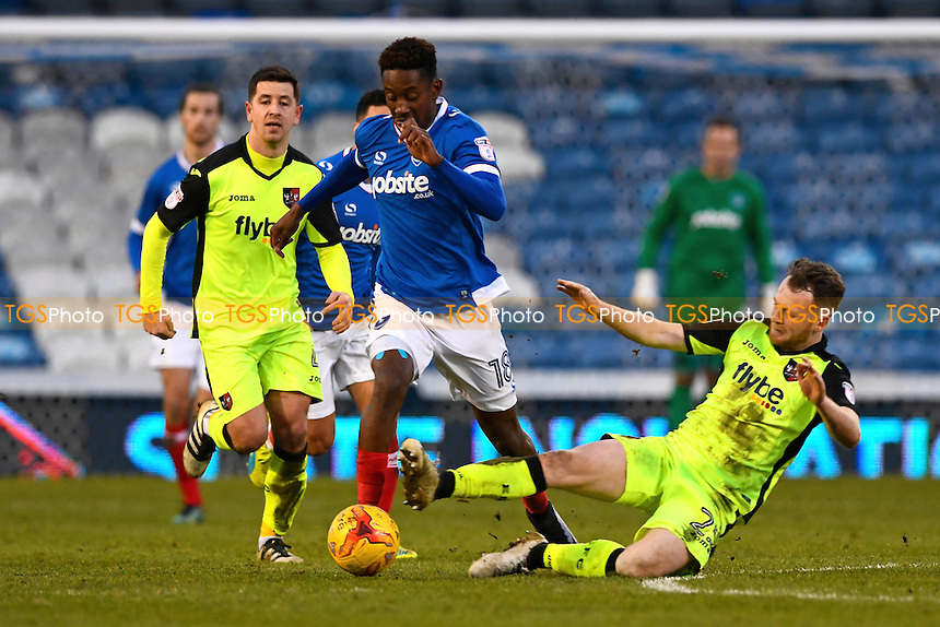 Jamal Lowe of Portsmouth evades the tackle from Jake Taylor of Exeter City during Portsmouth vs Exeter City, Sky Bet EFL League 2 Football at Fratton Park on 28th January 2017