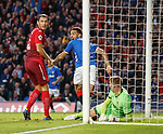 23.08.2018 Rangers v Ufa: Connor Goldson laughing after scoring