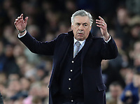 11th January 2020; Goodison Park, Liverpool, Merseyside, England; English Premier League Football, Everton versus Brighton and Hove Albion; Everton Manager Carlo Ancelotti reacts after Dominic Calvert-Lewin of Everton's goal is disallowed  - Strictly Editorial Use Only. No use with unauthorized audio, video, data, fixture lists, club/league logos or 'live' services. Online in-match use limited to 120 images, no video emulation. No use in betting, games or single club/league/player publications