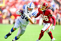 Landover, MD - September 16, 2018: Indianapolis Colts tight end Jack Doyle (84) is pursued by Washington Redskins defensive back D.J. Swearinger (36) during game between the Indianapolis Colts and the Washington Redskins at FedEx Field in Landover, MD. The Colts defeated the Redskins 21-9.(Photo by Phillip Peters/Media Images International)