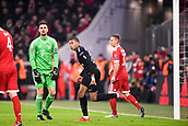 December 5th 2017, Allianze Arena, Munich, Germany. UEFA Champions league football, Bayern Munich versus Paris St Germain;  29 KYLIAN MBAPPE (psg) celebrates as keep Ulrich looks frustrated