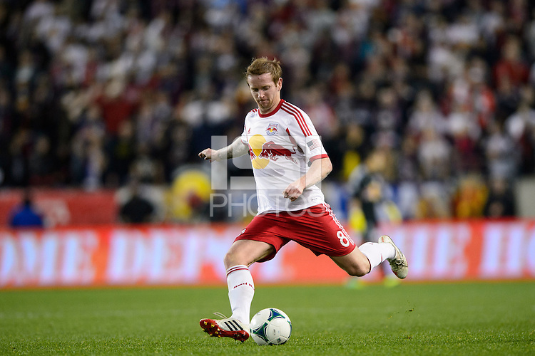 David Carney (8) of the New York Red Bulls. The Houston Dynamo defeated the New York Red Bulls 2-1 (4-3 on aggregate) in overtime of the second leg of the Major League Soccer (MLS) Eastern Conference Semifinals at Red Bull Arena in Harrison, NJ, on November 6, 2013.