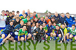 Derek from Crystal Swing meets the Castleisland Desmonds squad after he was unveiled as their Celebrity Banisteoir at Castleisland Desmonds GAA grounds on Saturday