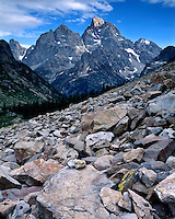 Glacial scree below Grand Teton Peak in Cascade Canyon; Grand Teton National Park, WY