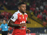 BOGOTA - COLOMBIA - 20 - 02 - 2018: Wilson Morelo, jugador de Independiente Santa Fe celebra el gol anotado a Santiago Wanderers, durante partido de vuelta entre Independiente Santa Fe (COL) y Santiago Wanderers (CHL), de la fase 3 llave 1, por la Copa Conmebol Libertadores 2018, jugado en el estadio Nemesio Camcho El Campin de la ciudad de Bogota. / Wilson Morelo, player of Independiente Santa Fe celebrates a scored goal to Santiago Wanderers, during a match for the second leg between Independiente Santa Fe (COL) and Santiago Wanderers (CHL), of the 3rd phase key 1, for the Copa Conmebol Libertadores 2018 at the Nemesio Camacho El Campin Stadium in Bogota city. Photo: VizzorImage  / Luis Ramirez / Staff.
