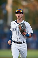 Charlotte Stone Crabs left fielder Miles Mastrobuoni (5) jogs back to the dugout during a game against the Palm Beach Cardinals on April 20, 2018 at Charlotte Sports Park in Port Charlotte, Florida.  Charlotte defeated Palm Beach 4-3.  (Mike Janes/Four Seam Images)