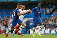 Lys Mousset of Sheffield United is inbetween Emerson Palmieri and Kurt Zouma of Chelsea during the Premier League match between Chelsea and Sheff United at Stamford Bridge, London, England on 31 August 2019. Photo by Carlton Myrie / PRiME Media Images.