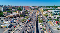 Aerial view looking north on I-35 in downtown Austin as the traffic surge increases as it approaches the 5 p.m. rush hour drive-time to full critical congestion highway conditions.