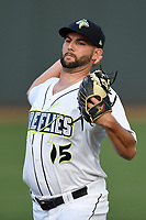 Starting pitcher Zac Grotz (15) of the Columbia Fireflies warms up before a game against the Charleston RiverDogs on Wednesday, August 29, 2018, at Spirit Communications Park in Columbia, South Carolina. Charleston won, 6-1. (Tom Priddy/Four Seam Images)
