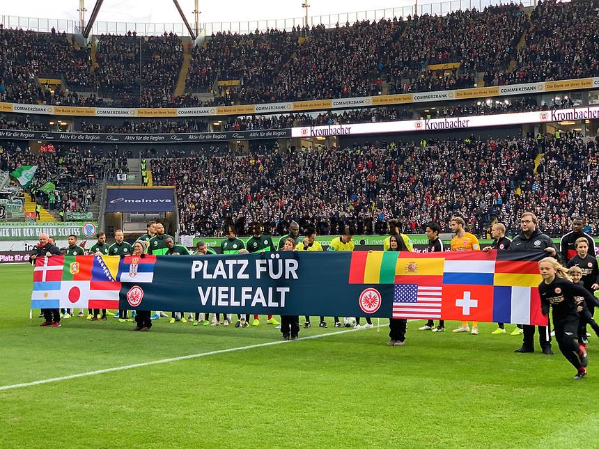 """Spieltagsmotto """"Platz für Vielfalt""""- 23.11.2019: Eintracht Frankfurt vs. VfL Wolfsburg, Commerzbank Arena, 12. Spieltag<br /> DISCLAIMER: DFL regulations prohibit any use of photographs as image sequences and/or quasi-video."""
