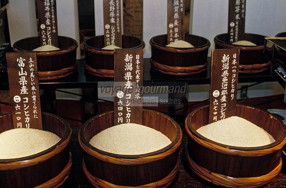 """Asie/Japon/Kyoto: Le marché couvert """"Nishikikoji-dori"""" - Détail de l'étal d'un marchand de riz"""