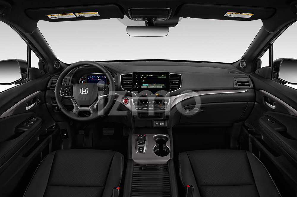 Stock photo of straight dashboard view of 2019 Honda Passport EX-L 5 Door SUV Dashboard
