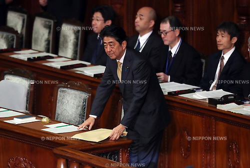 January 23, 2017, Tokyo, Japan - Japanese Prime Minister Shinzo Abe arrives atthe Lower House's plenary session to answer questions by the main opposition Democratic Party Secretary General Yoshihiko Noda for Abe's policy speech at the National Diet in Tokyo on Monday, January 23, 2017. Abe said he had no change of his view for U.S. President Donald Trump as Trump was a trustworthy leader.   (Photo by Yoshio Tsunoda/AFLO) LWX -ytd-
