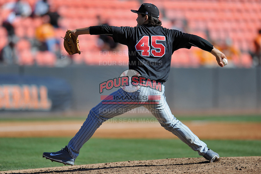 UNLV Runnin' Rebels starting pitcher John Richy #45 deliver a pitch during a game against the Tennessee Volunteers at Lindsey Nelson Stadium on February 22, 2014 in Knoxville, Tennessee. The Volunteers defeated the Rebels 5-4. (Tony Farlow/Four Seam Images)