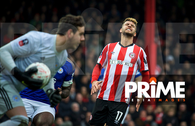 Emiliano Marcondes of Brentford reaction during the FA Cup 4th round match between Brentford and Leicester City at Griffin Park, London, England on 25 January 2020. Photo by Andy Aleks.