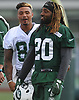 Jalin Marshall #89, left, jokes with Marcus Williams #20 during New York Jets Training Camp at the Atlantic Health Jets Training Center in Florham Park, NJ on Thursday, Aug. 10, 2017.