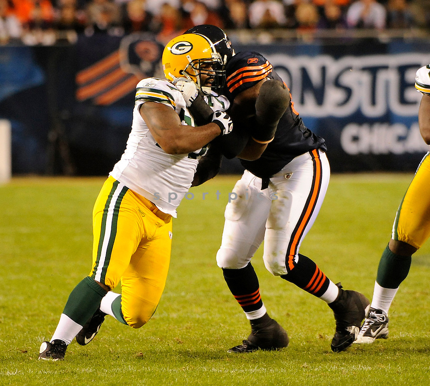 CULLEN JENKINS, of the Green Bay Packers in action during the Packers  game against the Chicago Bears on September 28, 2010 at Soldier Field in Chicago, Illinois...The Bears beat the Packers 20-17