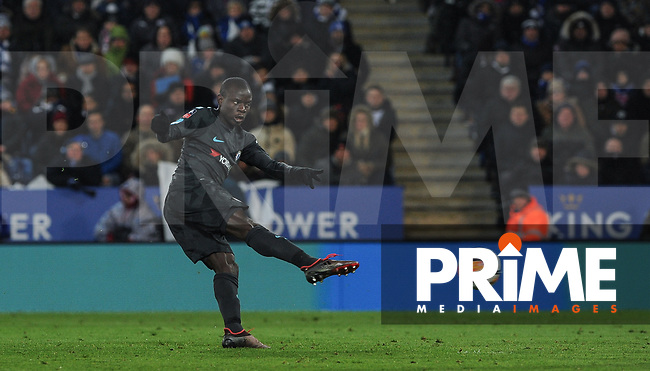 Ngolo Kante of Chelsea takes a shot at goal during the FA Cup QF match between Leicester City and Chelsea at the King Power Stadium, Leicester, England on 18 March 2018. Photo by Stephen Buckley / PRiME Media Images.