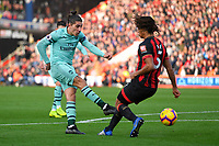 Hector Bellerín of Arsenal has a shot on goal under pressure from Nathan Ake of AFC Bournemouth during AFC Bournemouth vs Arsenal, Premier League Football at the Vitality Stadium on 25th November 2018