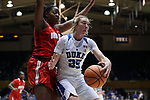 DURHAM, NC - NOVEMBER 30: Duke's Erin Mathias (35) and Ohio State's Stephanie Mavunga (left). The Duke University Blue Devils hosted the Ohio State Buckeyes on November 30, 2017 at Cameron Indoor Stadium in Durham, NC in a Division I women's college basketball game, and as part of the annual ACC-Big Ten Challenge. Duke won the game 69-60.