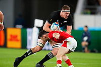 1st November 2019, Tokyo, Japan;  Brodie Retallick (NZL) tries to break the tackle;  2019 Rugby World Cup 3rd place match between New Zealand 40-17 Wales at Tokyo Stadium in Tokyo, Japan.  - Editorial Use
