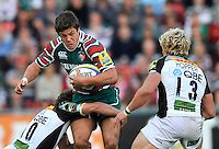 Leicester, England. Anthony Allen of Leicester Tigers in action during the Aviva Premiership match between Leicester Tigers and Harlequins at Welford Road on September 22, 2012 in Leicester, England.