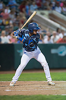 Ogden Raptors catcher Marco Hernandez (38) at bat during a Pioneer League game against the Billings Mustangs at Lindquist Field on August 17, 2018 in Ogden, Utah. The Billings Mustangs defeated the Ogden Raptors by a score of 6-3. (Zachary Lucy/Four Seam Images)