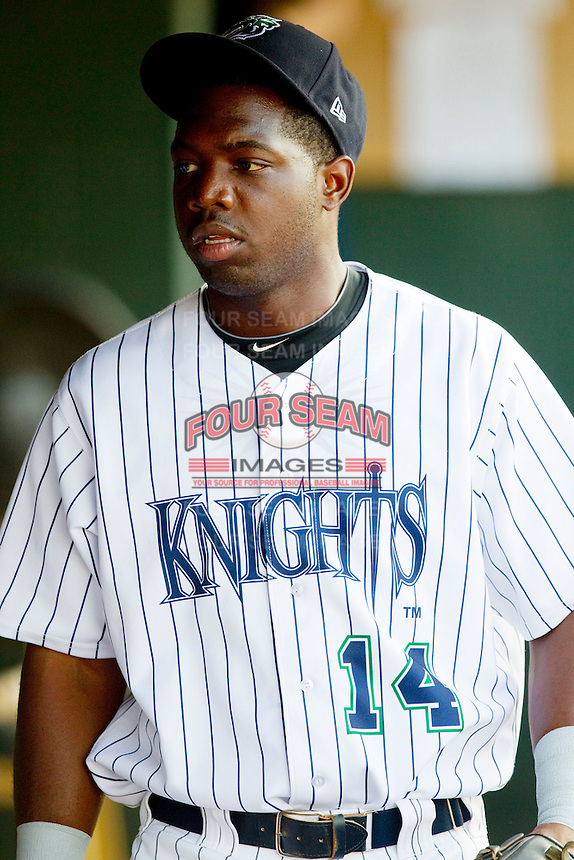 Lastings Milledge #14 of the Charlotte Knights prior to the game against the Indianapolis Indians at Knights Stadium on July 26, 2011 in Fort Mill, South Carolina.  The Knights defeated the Indians 5-4.   (Brian Westerholt / Four Seam Images)