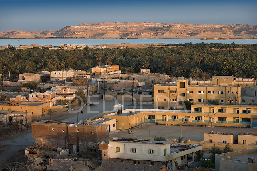 Sunrise over Siwa Town and Lake Siwa, of the Siwa Oasis, near the Libyan border in Egypt.