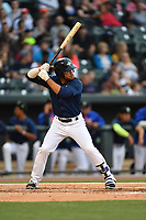 Center fielder Desmond Lindsay (2) of the Columbia Fireflies bats in a game against the Lakewood BlueClaws on Saturday, May 6, 2017, at Spirit Communications Park in Columbia, South Carolina. Lakewood won, 1-0 with a no-hitter. (Tom Priddy/Four Seam Images)
