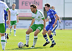 2018-08-12 / voetbal / seizoen 2018 - 2019 / Crocky Cup / Dessel Sport - Diegem / Ratko Vansimpsen (l) (Dessel Sport) kaatst de bal met in zijn rug Sander Denayer (r) (Diegem)