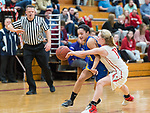 WINSTED,  CT-021119JS23- Housatonic's Sierra O'Niel (11) gets fouled by Northwestern's Skylar Dimartino (11) on her way to the basket during their Berkshire League game Monday at Northwestern. <br /> Jim Shannon Republican American