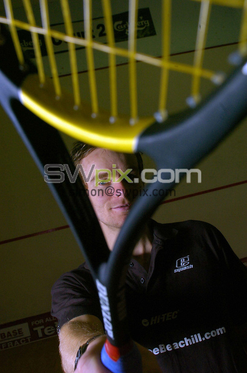 Pix by BEN DUFFY/SWpix.com......Squash - Lee Beachill......28/10/04..Picture Copyright >> Simon Wilkinson >> 07811267706..World squash champion, Lee Beachill at his home squash courts in Pontefract, West Yorkshire