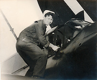 Paul 'Abbie' Kolesar? with an SB2C Helldiver? on the U.S.S. Shangri-La (CV-38) 1944 or 1945.<br />