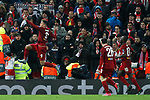 Roberto Firmino of Liverpool celebrates scoring in extra time during the UEFA Champions League match at Anfield, Liverpool. Picture date: 11th March 2020. Picture credit should read: Darren Staples/Sportimage