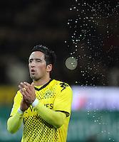FUSSBALL   1. BUNDESLIGA   SAISON 2011/2012   23. SPIELTAG Borussia Dortmund - Hannover 96                        26.02.2012 Lucas Barrios (Borussia Dortmund)  freut sich nach dem Abpfiff