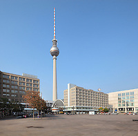 Alexanderplatz, with the Berolinahaus and the Fernsehturm or TV Tower in the distance, built 1965-69 in the former East Berlin, Germany. The tower is 368m tall and the tallest structure in Germany. Picture by Manuel Cohen