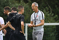 Trainer Adi Hütter (Eintracht Frankfurt) im Gespräch mit Mijat Gacinovic (Eintracht Frankfurt) - 04.07.2018: Eintracht Frankfurt Trainingsauftakt, Commerzbank Arena