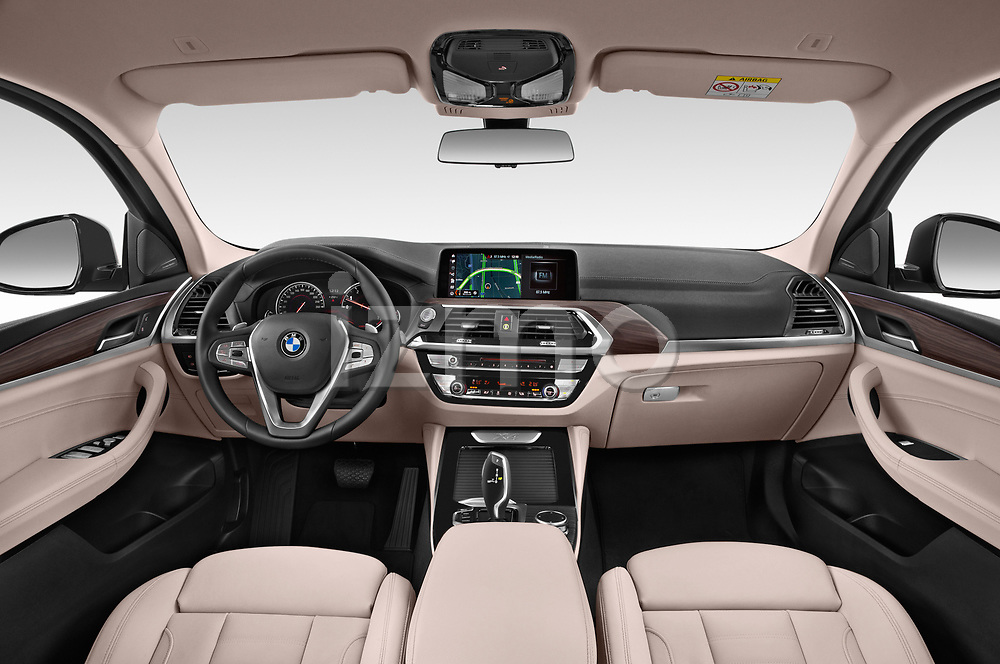 Stock photo of straight dashboard view of a 2018 BMW X4 x Line 5 Door SUV